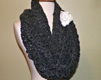 On Sale- Long Scarf Infinity Cowl Dark Gray Chunky Neckwarmer  Winter  With Flower Brooch