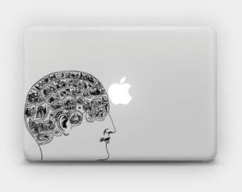 Transparent MacBook Skin MacBook Sticker MacBook Decal Laptop Skin  MacBook Air  MacBook Pro  – Brain Psychology Phrenology