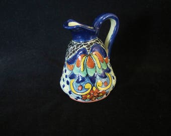 Talavera Folk-Art Pottery Pitcher- handcrafted & hand-painted in vibrant colors. La Carona Talavera crown makers mark on bottom. Great Gift!