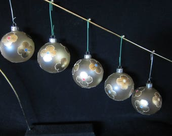 Five Round Christmas Ornaments - golden color base decorated with seven lovely gold-tone flower blossoms each with different color center!