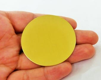 5 Pieces Raw Brass 52 mm Stamping Blanks  -25 GAUGE Stamping Disc