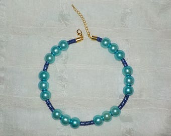 Braided Leather Beaded ADJUSTABLE Dog ~ Cat Collier (Purple & Blue Beaded Necklace)