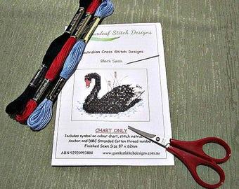 Australian fauna cross stitch chart - Black Swan.  PDF instant download