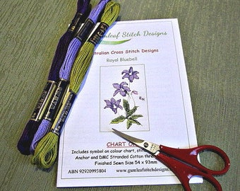 Australian flora cross stitch chart - Royal Bluebell.  PDF instant download