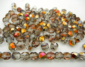 150 Crystal Santander coated 8mm, Preciosa Czech Fire Polished Round Faceted Glass Beads, Czech Glass Fire Polish Beads, clear multi coat