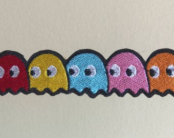 Pac-man left facing ghosts sew-on patch