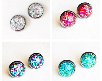 HYPOALLERGENIC EARRINGS Glitter Earrings 12mm LARGE (Surgical Stainless Steel) - Hologram Silver, pink, green, multi, Clothing Gift