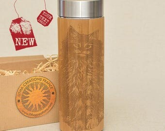 Wooden Thermos Wood Vacuum Flask Engraved CAT Original Bamboo Stainless Steel with Screw Lid