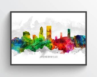 Jacksonville Florida Skyline Poster, Jacksonville Cityscape, Jacksonville Print, Jacksonville Decor, Home Decor, Gift Idea, USFLJA12P