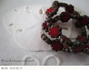 ON SALE Dark Red Czech Glass Cactus Flower Beads Red Picasso Czech Flower Beads Red Cactus Flower Czech Glass Beads 9mm (10 pcs) 67V3