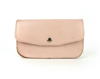 Vintage Pink Leather Pencil Case | Office and School Accessories | Rose quartz cosmetic pouch, nude makeup storage, make up bag