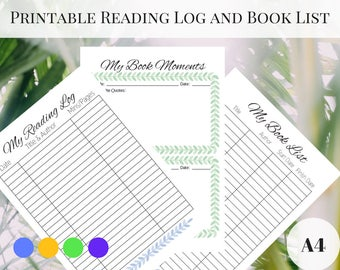 Printable Reading Log, Reading Journal, Reading Tracker, Book Tracker, Books to Read, Printable Reading Journal, A4 Reading Log