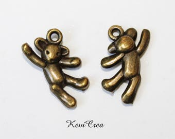 10 x bears 3D bronze metal charms