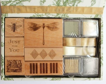 Anna Griffin Rubber Stamp Set  Wood Mounted Stamps Bees and Dragonflies 5812SK Papercrafting Gift Cardmaking Scrapbooking Journalling Supply