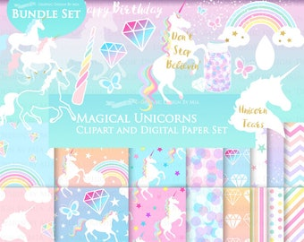 Magical Unicorns, White Unicorns, Einhorn, Unicorn Digital, Unicorn Clip Art + Digital Paper Set - Instant Download