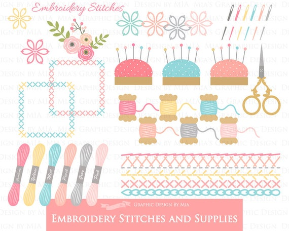 Sewing embroidery stitches and supplies