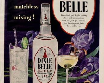 1949 Dixie Belle Gin Ad - Distilled London Dry Gin - Purple Iris - Vintage Alcohol Ads