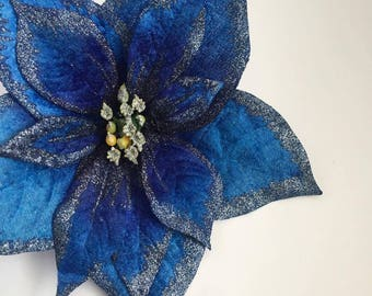 Large Blue Glitter Poinsettia Hair Flower Clip ( Pin Up, Christmas, holidays, winter )