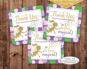 Fairy Party Favor Tags for Birthday | Thank You for Making My Party So Fairy Magical | 3x3 Inches | Digital Printable | INSTANT DOWNLOAD