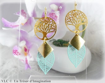 Tree of life green soft and golden earrings
