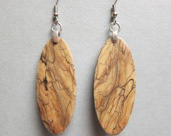 Exotic Wood Earrings Spalted Tamarind DangleExoticWoodJewelryAnd handcrafted ecofriendly