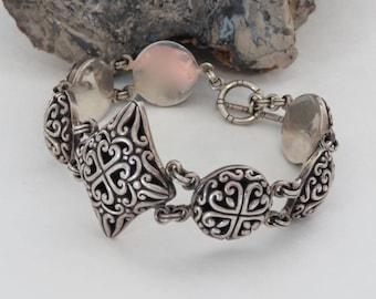 Sterling silver bracelet, Bali style, toggle, marked 925, signed CL, vintage, 43.2 grams