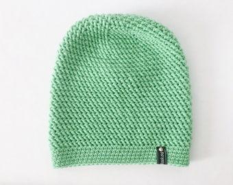 Crochet Slouchy Hat | Green | iLux Merino