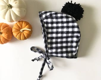 Flannel Baby Bonnet - Black and White Gingham - Free Shipping