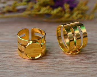 Set of 2 stands 12mm Golden (T339) cabochon ring