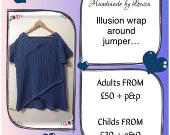 Illusion wrap around jumper