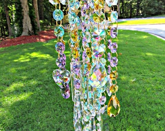 Crystal Wind Chime, Crystal Sun Catcher, Garden Décor, House Warming Gift, Glass Wind Chime, Gift for Her, Anniversary Gift , WC 129