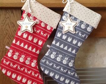 Scandinavian Christmas Stocking, Personalised Christmas Stocking. Luxury Christmas Stocking