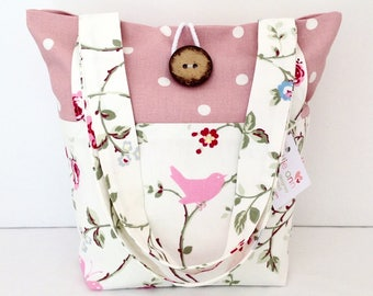 Tote Bag, Bird Trail & Pink Dotty Bag, Small Lunch Bag, Small Tote Bag, Everyday Bag, Pink Dotty Bag, Fold Up Bag, Floral Bag