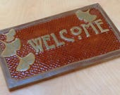 Gingko Welcome Sign Arts and Crafts,Wedding Gift,with chocolate & green glaze. Mission/Craftsman tile