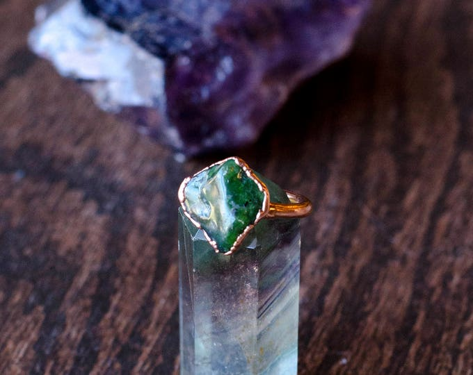 Natural Jade and Copper Ring Size 6 3/4