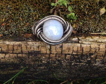 Sterling Silver Wire Wrapped Moonstone Ring - sz 10.5/11