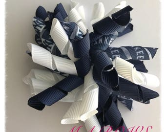 New York Yankees inspired Hairbow...Yankees Hairbow...MLB inspired Hairbow...Korker Hairbow