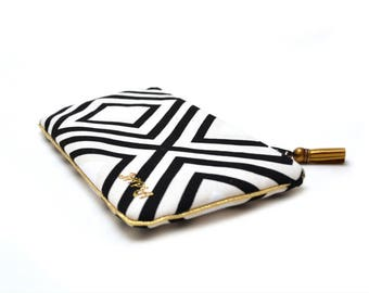 Black, white and gold geometric diamond pouch