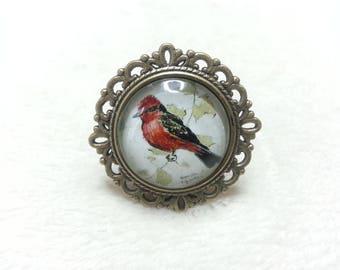 Red & Black bird round bronze ring