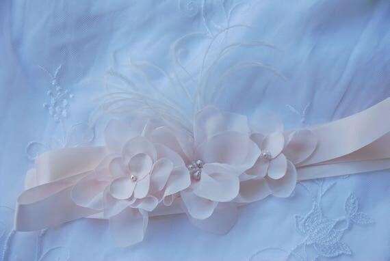 Blush floral bridal belt;blush floral bridal sash;wedding belt