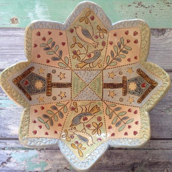 Handmade Ceramic Patchwork/Applique Patterned Bowl