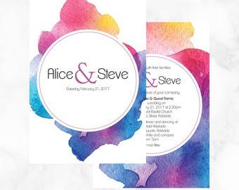 Vibrant Watercolour Wedding Invitations