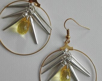 Gold hoops - cones & drops yellow 6cm