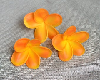 Light Orange Plumerias Real Touch Flowers frangipani heads for cake decoration and wedding bouquets