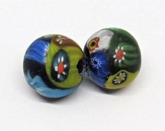 Loose beads. 2 Vintage Venetian glass millefiori beads. 16mm x 17mm