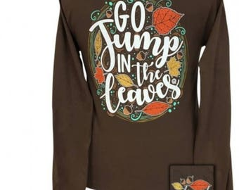 Jump in the leaves! - Adult Long Sleeve - Girlie Girl