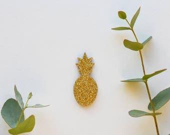 gold glitter pineapple brooch