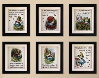 Set of 6 Mounted Alice in Wonderland Vintage Style Quote Prints, Shabby Chic, Wall Art Print, Fab Picture Gift