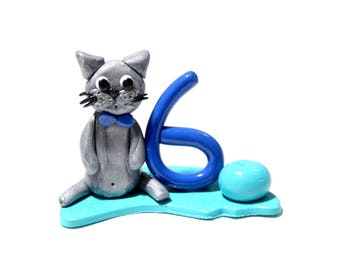 Candle 6 years old birthday boy Blue Cat