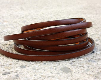 Leather camel flat 5 mm by 20 cm strap
